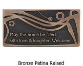 Modern Welcome Plaque Swirls Rectangle Address Plaque Custom 17x8 inches