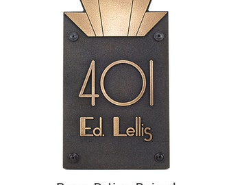Moderne Art Deco Address  Numbers Plaque 8x14 for TWO numbers Made in USA by Atlas Signs and Plaques