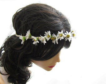 Daisy flower headpiece, Hippie head wreath, Bridal flower crown, Wedding hair accessories