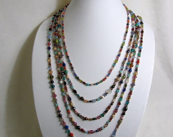 Copper and Glass Bead Necklace 24 inches, RKMixables Copper Collection RKM433