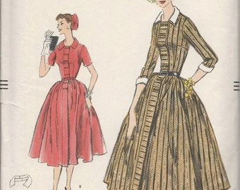 Vogue 9000 1950s Misses DRESS Pattern Double Breasted Closing Full Skirt Womens Vintage Sewing Pattern Size 10 Bust 31  UNCUT