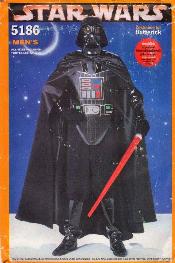 1990s men's Darth Vader costume pattern - Butterick 5186