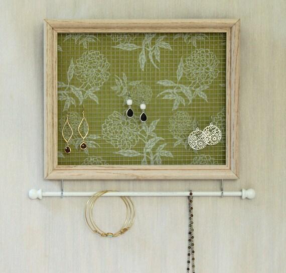 S A L E -- Jewelry Organizer- Whitewashed Frame