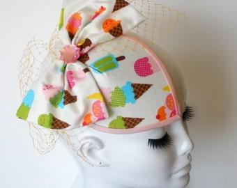ICE CREAM Bow Kawaii Fascinator Hat