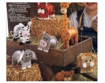 Plastic Canvas Animal Toys Pattern Elephant Giraffe Tiger Lion Hippo Zebra Spool Body DIY Crafts Quick and Easy Plastic Canvas Magazine