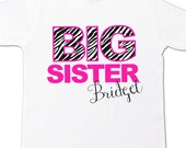 Big sister zebra shirt - pink with zebra print