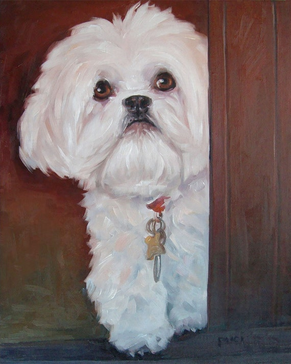 Pearl of a Girl, custom Pet Portrait Oil Painting, 8x10""