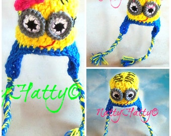 Despicable Me Minion For BOY OR GIRL Crochet Hat earflapas, Minion Halloween costume, Despicable me minion baby costume