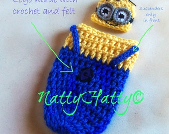 Despicable Me Minion For boy  Crochet Hat, cocoon and bow, Minion  costume, Despicable me minion baby costume