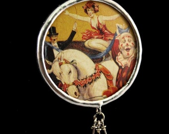 Circus Performers Clown Show Horse Soldered Necklace - Free Shipping in US -