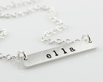 Hand stamped and personalized sterling silver Thick Tag Necklace - Horizontal Tag - Top Hang - American Typewriter font
