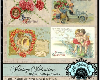 Valentine Digital Collage Sheets,  ACEO, Digital Art, Hang Tags, Truth Cards, Book marks, or Wallet cards, Vintage Valentines
