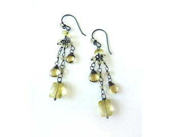 Lemon Quartz Earrings - Oxidized Sterling Silver - Free Shipping