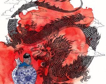 Tintin and the Blue Lotus - 11x14 print