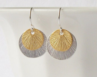 Small Silver Gold Circle Dangle Earrings