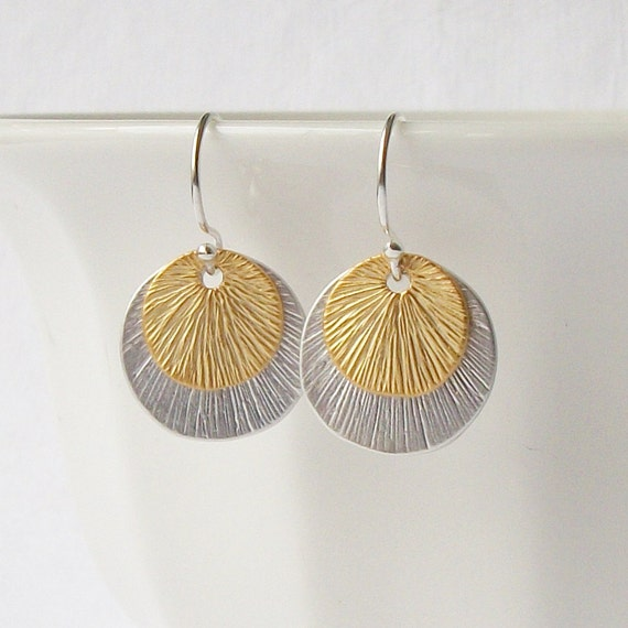 LAST ONE Small Silver Gold Circle Dangle Earrings Bridesmaid Gift