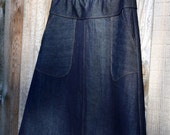 Dark Denim Jean skirt, round Apron pockets, A-line, Customizable length, plus sizes, Custom Made to your Measurements and desired Fit.
