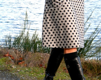 A-Line Skirt With a Pocket, bLaCk aNd WhiTe stripe, PolKa DoT sTrIpE, Custom Made to your size and desired Fit