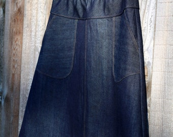 Womens Denim Skirt Navy blue Skirt Aline jean Skirt knee