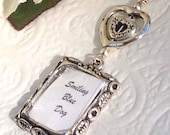 Wedding bouquet memorial photo charm. Hearts memory charm.