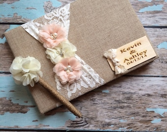 burlap wedding guest book / wedding guest book / guest book for wedding / blush pink / rustic wedding
