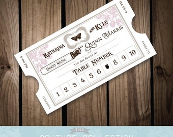 Vintage Styled Train Ticket Place Cards Escort Cards - Vintage Spring Theme - (Fully Customizable) Printable DIY Digital File
