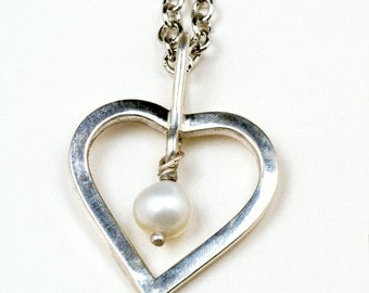 Sterling Silver heart necklace with cultured pearl drop, Pearl and Silver heart necklace