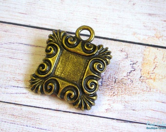 1 Square Brass Pendant Blank setting , embossed swirls frame , Antiqued , Oxidized , Rustic , Brass Plated