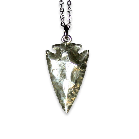 Arrowhead necklace in solid white bronze with sterling overlay like this item aloadofball Images