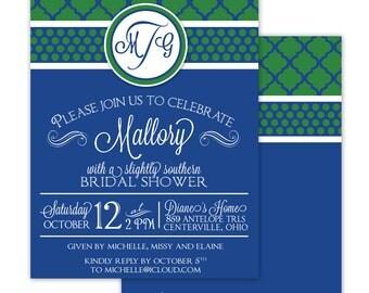 MONOGRAM  Bridal Shower or Birthday Printable Party Invitation - Printing Available