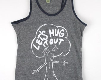 Tree hugger Women's racerback tank top screen printed red with blue trim or gray with navy trim
