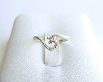 White Topaz Solitaire Ring Sterling Silver Swirl April Birthstone Made To Order