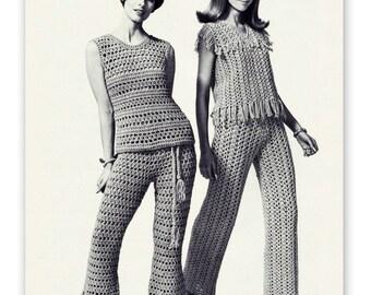 Crochet Pants & Tops Pattern - Retro 60s - PDF Pattern 309 - Instant Download