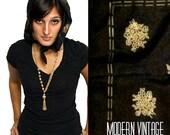Black Floral Scarf - Vintage Boho Chic Summer Style - Gold Print