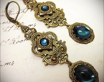 Blue Victorian Earrings, Navy Earrings, Dark Blue, Renaissance Jewelry, Medieval Jewelry, Ren Faire Costume, Tudor, Avalon