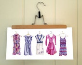 """Limited Edition Print- Pretty Purple Dress Collection (UNFRAMED, 7"""" x 14"""")"""
