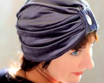 Velvet Turban - Women's Fashion Hair Wrap in Charcoal Grey - Bohemian Style Hair Accessories