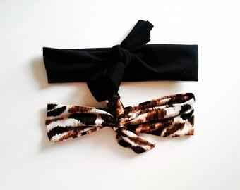 Top Knot Headband Set, Black and Leopard Headband Set, Infant Headband, Kids Headband, Toddler Headband