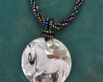 Paso Fino spanish horse hand painted Mother of Pearl necklace