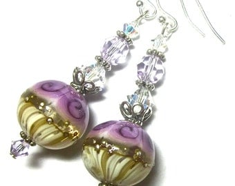 Elegant Earrings Lampwork Earrings Purple Earrings Ivory Earrings Round Bead Earrings Glass Earrings Artisan Earrings Handmade Earrings