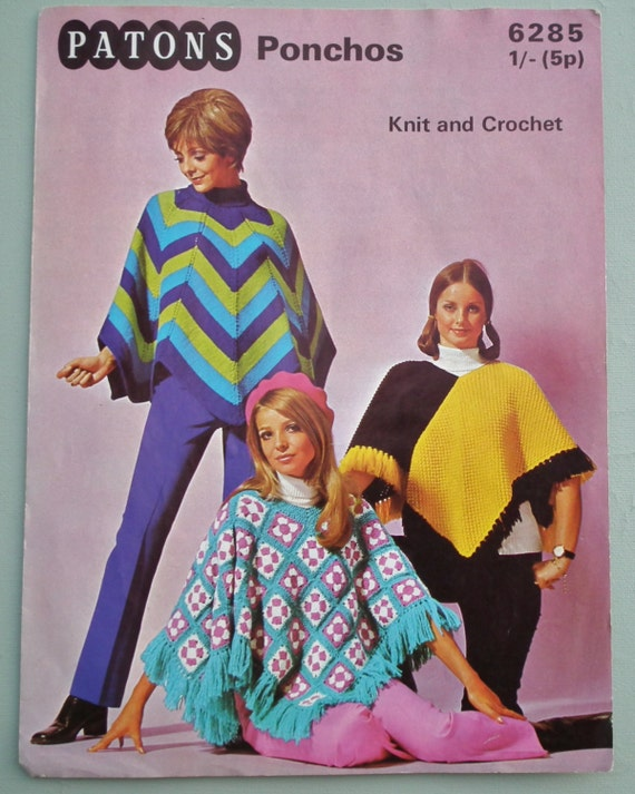 Vintage Knitting Crochet Pattern 1960s 1970s - Womens Ponchos  - 3 designs - 60s 70s original pattern - granny squares crochet pattern