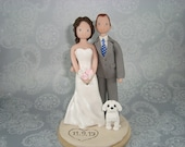 Bride & Groom Outdoor/ Beach Theme with a dog Personalized Wedding Cake Topper