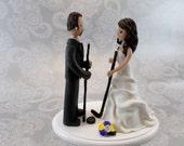 Bride & Groom Hockey Fans Custom Wedding Cake Topper