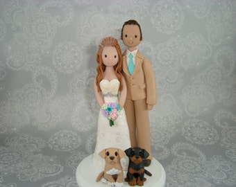 Bride & Groom with Dogs Personalized Wedding Cake Topper