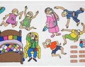 5 Little Monkeys Jumping on the Bed - Felt  Board Set  - Flannel Board Set