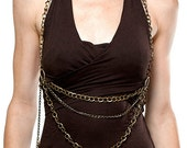 Brass Chain Halter , Body Chain, one size fits all