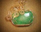 Green AVENTURINE Gemstone Gold Wire Wrap Necklace Pendant