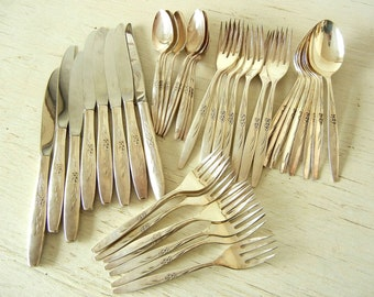 Mid Century Modern Silverware 1960 | 40 pcs Oneida Enchantment Gentle Rose Flatware | Silverplate 8 Place Settings Silver Plate