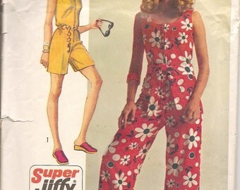 Vintage Sewing Pattern 1970s Jumpsuit Jiffy Boho Simplicity 8787
