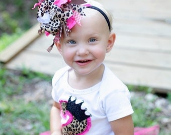 Hot pink and Brown Leopard Over The Top  Bow with Beautiful Bling Crown Center on matching Headband Free Shipping On All Addional Items